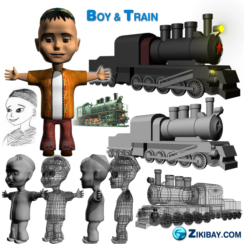 Fallen Shield boy train 3d animation