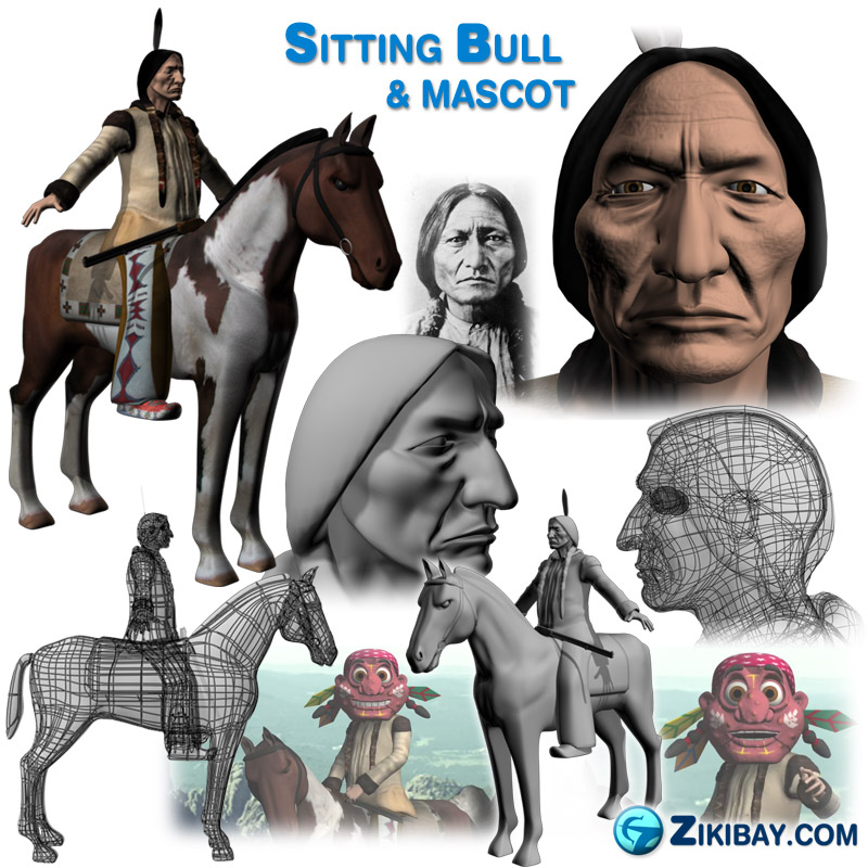 Perfect Mascot Sitting Bull Lakota Sioux chief Native American Indian mascot 3d animation